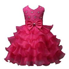 New Sundress Nail Bead Girls Bowknot Dress Wedding Party Pageant Layered Dresses