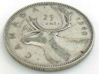 1949 Canada Twenty Five 25 Cent Quarter Silver Circulated George VI Coin K155