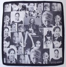"Designer OTTO KERN Fashion Photo COLLAGE Gray Hand Rolled Silk 21"" Small Scarf"