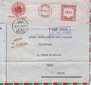 MACAU meter-cover, registered, AFS,EMA, Central Macau,11 XI 71, to Paris