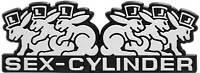 SEX CYLINDER Auto Relief Schild Emblem selbstklebend silbergrau HR Art. 49996