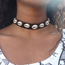 Black Leather Cowrie Shell Choker Necklace Bib Statement Charm Pendant Jewelry
