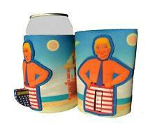 Donald Trump Novelty Can Cooler/Koozie Flag Pole Red White Blue Flag Collector
