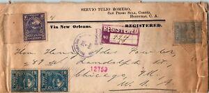 Honduras Postal History: LOT #2 1911 REG 47c Franking SAN PEDRO SULA - CHICAGO $