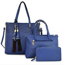Handbag Blue Tassel Accent Studded Laser-cut 3 in 1 Tote Set Great as Travel Bag
