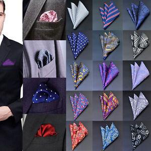 Men Pocket Square Handkerchief Satin Solid Floral Paisley Dot Floral Hanky Party