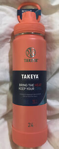 Takeya 51186 24 Oz Insulated Stainless Steel Water Bottle with Spout Lid Coral