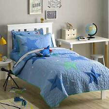 FRECKLES Stars quilted SINGLE/KING SINGLE COMFORTER/COVERLET SET BNIP blue $309