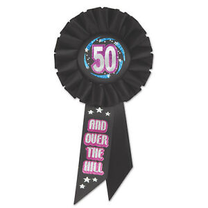 LARGE 50 AND OVER THE HILL 50TH BIRTHDAY ROSETTE AWARD BADGE
