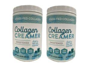 Lot Of 2 Collagen Creamer Grass Fed sweetened, 20 Servings Net WT.10 oz.