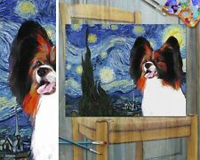 More details for papillon dog art starry night van gogh canvas print 16x12 inch