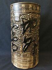 Chine vase rouleau terre cuite idéogrammes signé cachet Zhuanshu
