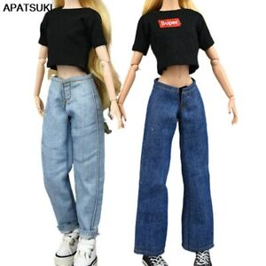 """Fashion Jeans Harem Flare Pants For 11.5"""" Doll Clothes Outfits Trousers 1/6 Toys"""