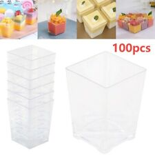 More details for 100pcs square plastic dessert cups mini cubes 4oz/120ml strong cup party decor