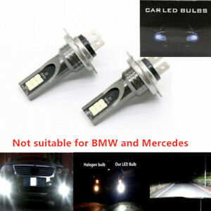 H7 3030 LED Headlight High Low Beam Bulb Kit 6000K White 55W 6000LM Super Bright
