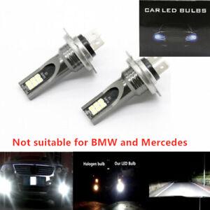 H7 3030 LED Headlight High Low Beam Bulb Kit 6000K White 55W 6000LM Super Bright
