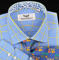 Blue Yellow Luxury Dress Shirt Formal Business Contrast Colors Paisley Flower