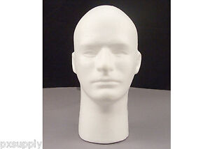 White Male Styrofoam Head With Face Rothco 503