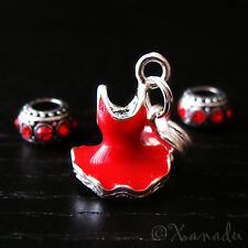 Lady In Red European Charm Bead Set - Women's Heart Disease Awareness Red Dress