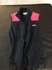 Vineyard Vines Fleece Vest Navy Blue Pink Full Zip Women's Size XS Extra Small
