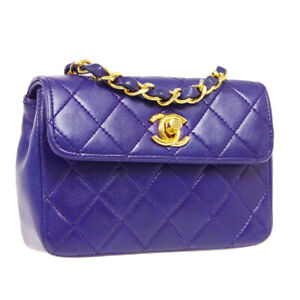 CHANEL Quilted CC Single Chain Mini Shoulder Bag 0766372 Purple Leather 04698