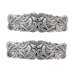 2pcs Vintage Style Große Keltische Haarspange Viking Haarspange Dekor Silber