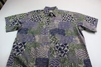 Cooke Street Honolulu Isla Green Blue Floral Pocket Button Front Shirt Large L