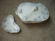 ANTIQUE JOHNSON BROS. LIDDED TUREEN & SMALL CRESCENT DISH/ ROSEDALE/1800'S
