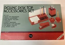 Vtg First Class Deluxe Desk Top Accessories Set Office Organizer Black Nib New