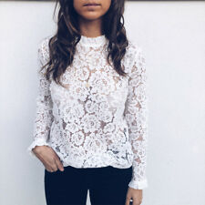 UK Women Casual Lace T-Shirt Top Ladies Autumn Long Sleeve Tops Blouse Size 6-16
