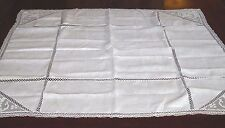 Vtg White Square Linen/Lace Tablecloth 38x38 -- Clean, Ironed - Monogrammed GGB