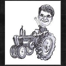 Karikatur vom Foto ~ - Portrait nach Foto /DIN A4/ Traktor Motiv *Geschenk*