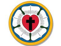 4x4 inch Round LUTHERAN CHURCH SEAL Sticker - decal cross god faith religion
