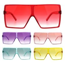 Womens Oversize Mobster Pop Color Rectangular Plastic Sunglasses