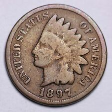 1897 1 In Neck Indian Head Cent Penny CHOICE G Blundered Die FREE SHIPPING E454