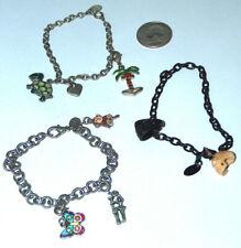 3 LOT Bracelet Claire's Love Best Palm Tree Butterfly Monkey Turtle Skull Charms
