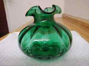 Vase Green Hand Blown Studio Handcrafted Glass For Sale Ebay