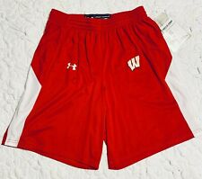 UNDER ARMOUR Wisconsin Badgers Fury Basketball Shorts 1300358 Mens Size L - Red
