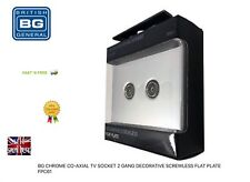 BG CHROME CO-AXIAL TV SOCKET 2 GANG DECORATIVE SCREWLESS FLAT PLATE FPC61