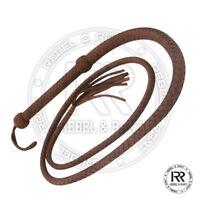 04 Feet Long 12 Plait Genuine Real Leather Bull Whip Heavy Duty Bullwhip Brown