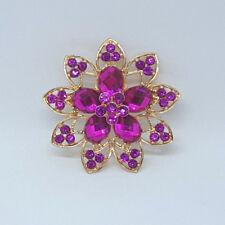 Tone Brooch Pin Wedding Jewelry Purple Round Flower Crystal Rhinestone Gold