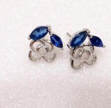 Mujer Niña Azul Diamante Sintético Bañado En Oro Blanco