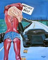 Beach Woman Lamborghini Original Art Painting DAN BYL Modern Contemporary 4x5ft