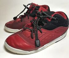JORDAN Boys Kids Red Black Leather Slip On Toggles Lock Shoes Sneakers Size 1