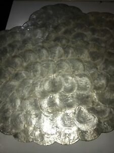 Vintage Capiz Shell Mother of Pearl Scalloped Placemats Set of 4 Oval Cork MINT