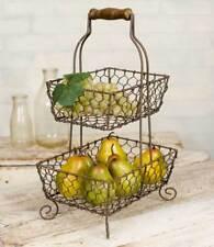 2-Tier Grayson Wire Basket Caddy Kitchen Organizer Primitive Rustic Farmhouse