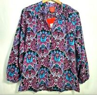Tracy Negoshian Peasant Blouse Shirt Womens Small Floral Purple Smock Neck Kira