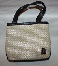 Etienne Aigner small Natural Straw & Brown Leather Woven Purse tote bag Vtg?