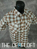 Mens CASUAL COUNTRY Plaid SHORT SLEEVE Shirt w/ Snap-Up Pockets Faded Rust Color
