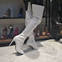 Weiß Damen Schenkelhoch Overkneestiefel Stiletto Heels Einfarbig boots 45 46 47